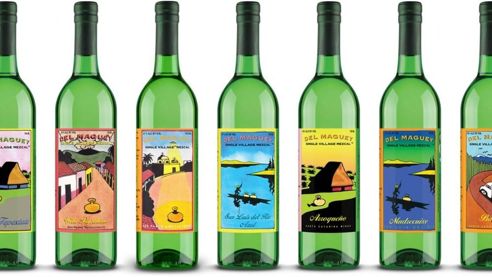 A line of Del Maguey mezcal bottles