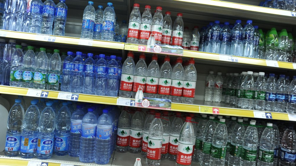 Bottled water on the grocery store shelf in China