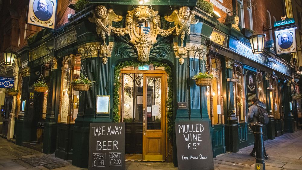 Exterior shot of British pub in London