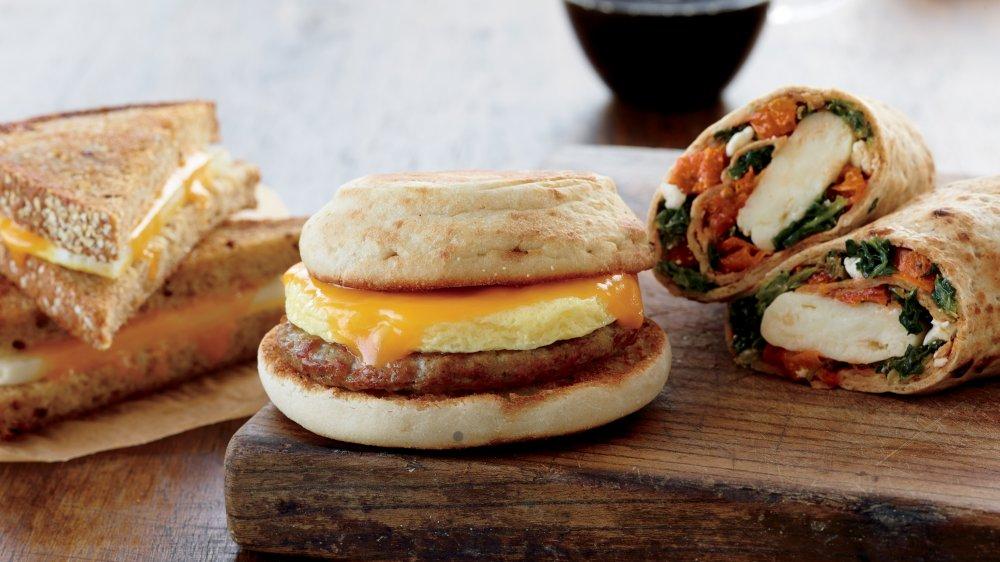 A selection of Starbucks breakfast menu items