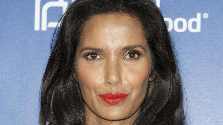 Padma Lakshmi pursing lips
