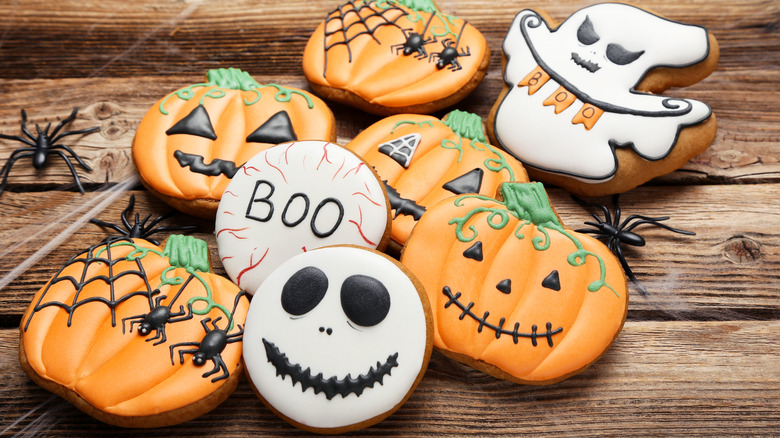 Halloween cookies on wood table