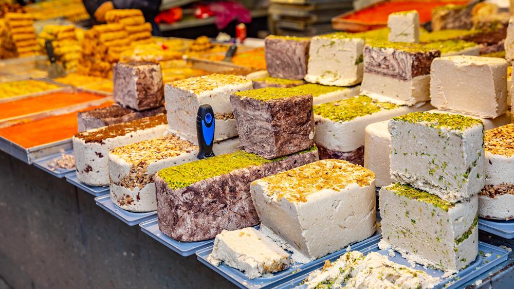 Different kinds of halva in Jerusalem's market