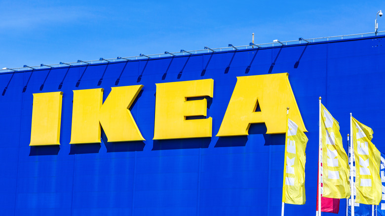 IKEA exterior sign with flags
