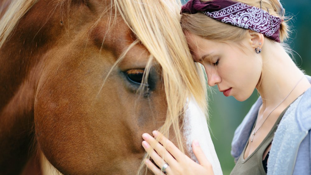 horse and woman bonding