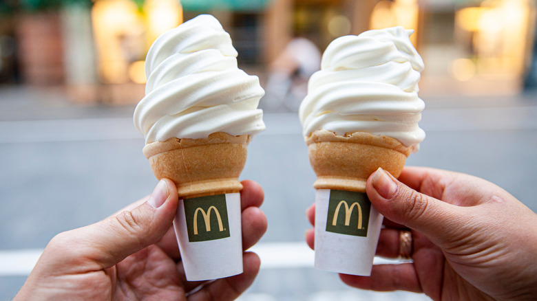 Two Mcdonalds ice cream cones