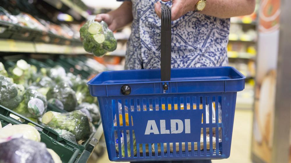 Blue Aldi shopping basket