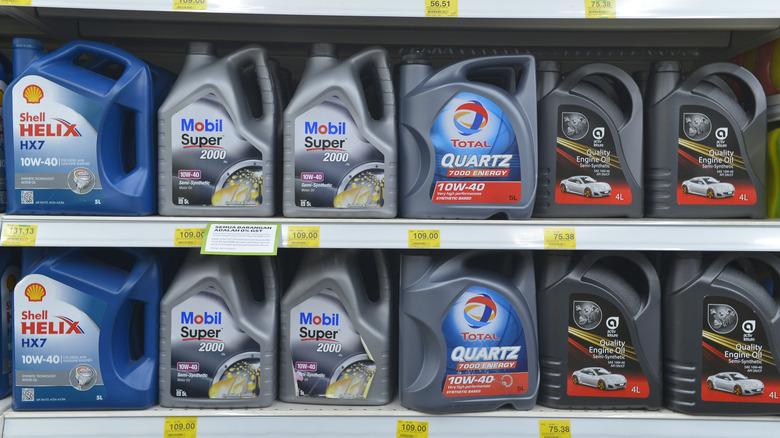 Shelves of motor oil