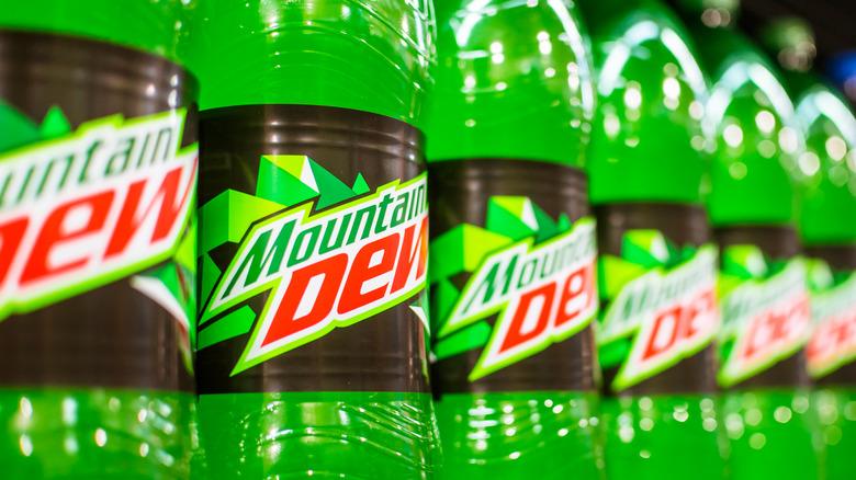 Mountain Dew bottles on display