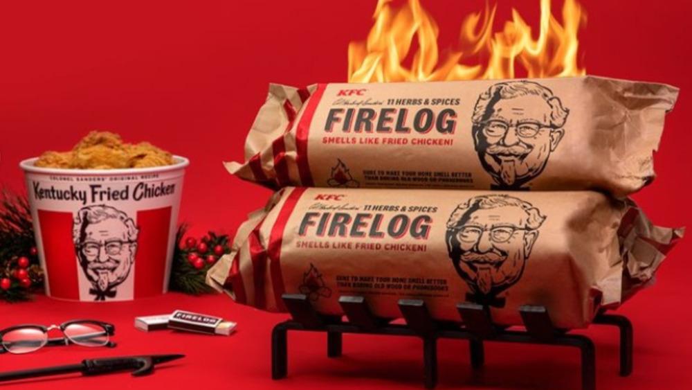 KFC firelog next to bucket of fried chicken