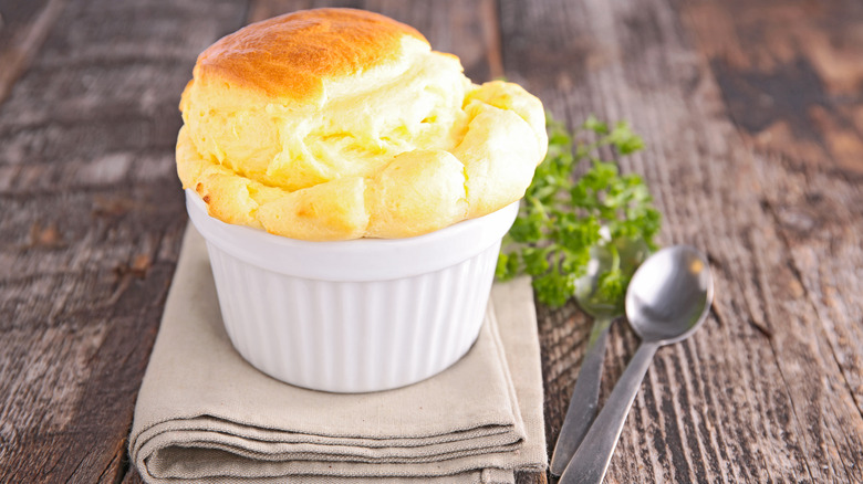 A cheese souffle in a bowl