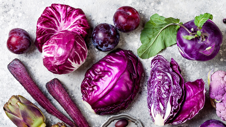 Red cabbage and other purple vegetables and fruits