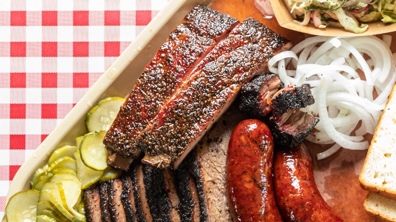Texas style BBQ, hot links, red.