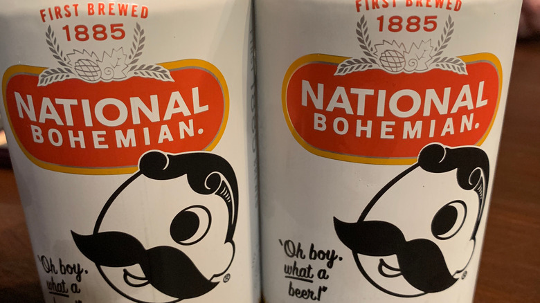 Cans of National Bohemian beer