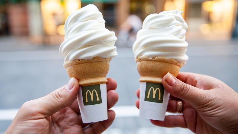 sharing two mcdonald's ice cream cones