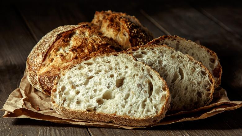 Sourdough bread on wood table