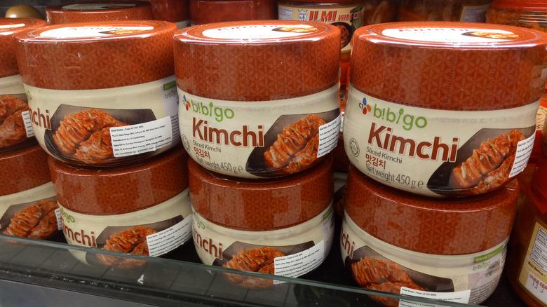 Bibigo containers of kimchi