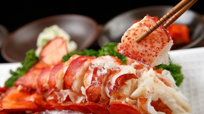 Cooked lobster being served