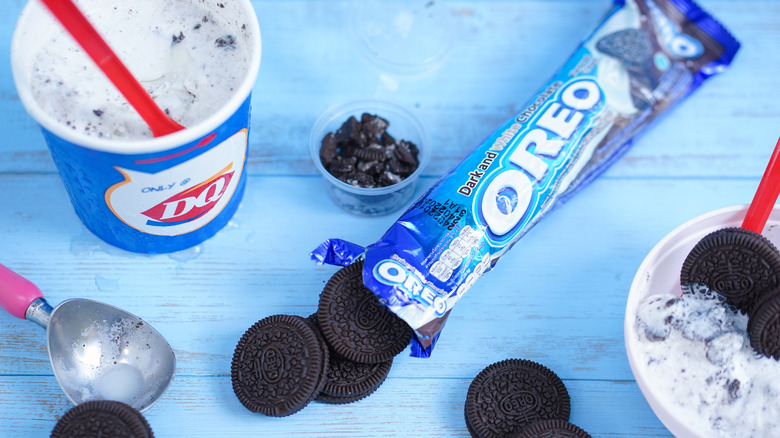 Dairy Queen Oreo Blizzard with package of Oreo cookies
