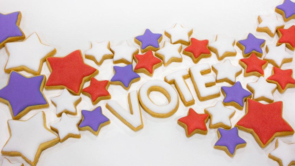 The word vote spelled with sugar cookies