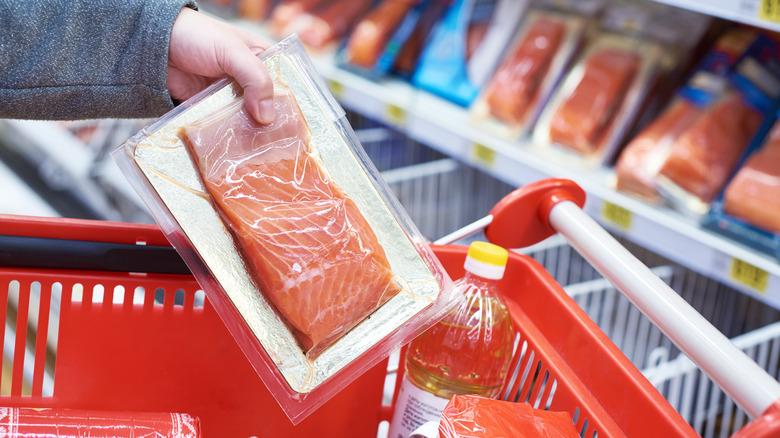 customer buying seafood