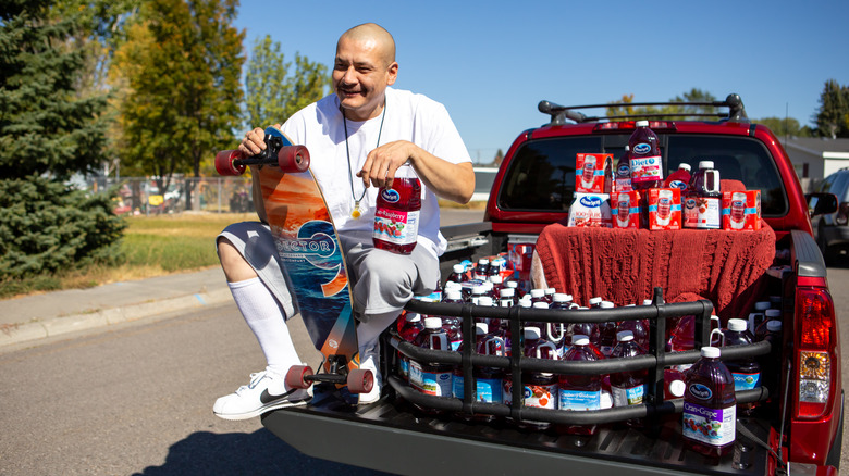 Nathan Apodaca with his pickup truck from Ocean Spray