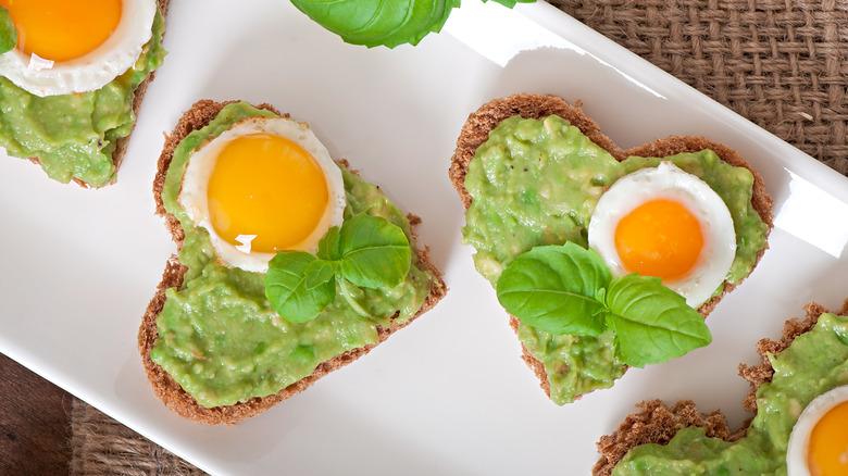 mini eggs with avocado toast