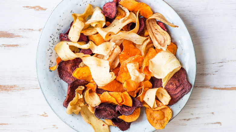 Bowl of colorful veggie chips