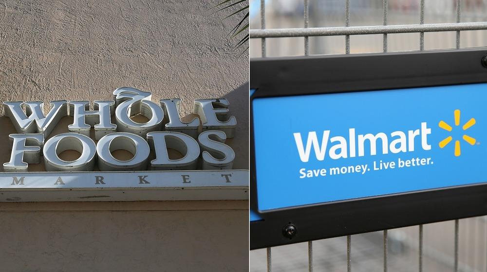 Whole Foods' logo and Walmart's logo