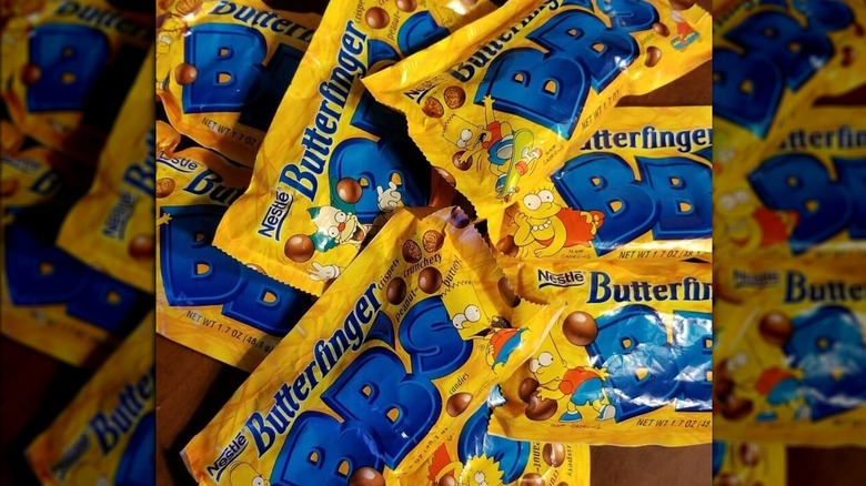 Bags of Butterfinger BB's in a pile on a table