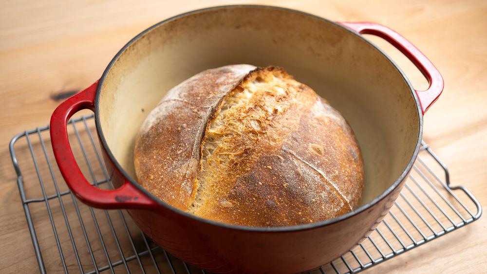 Boule of bread in a dutch oven