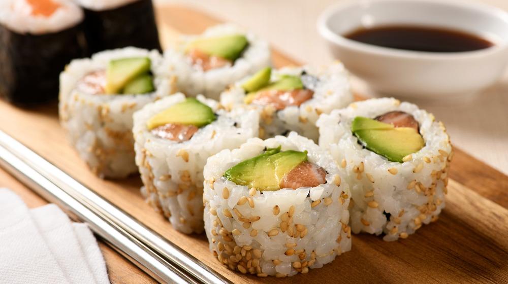 Uramaki sushi roll