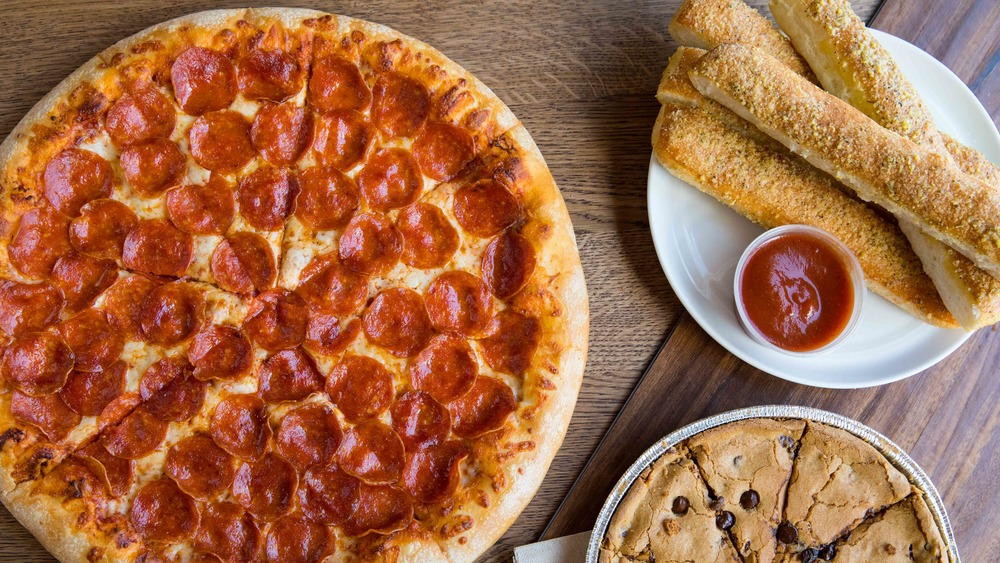 Pizza and breadsticks from Pizza Hut