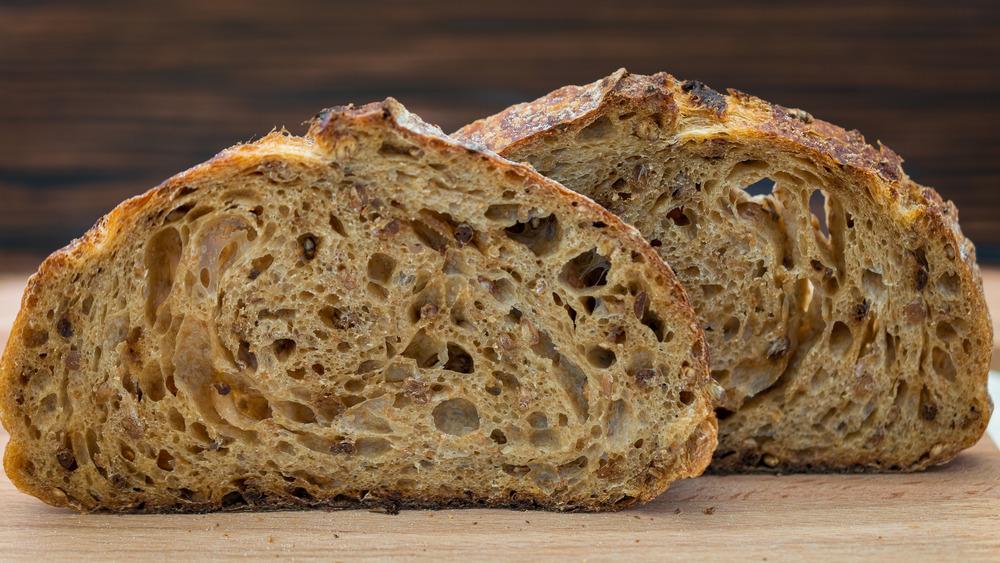Sliced sourdough bread