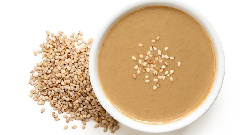 Tahini topped with sesame seeds