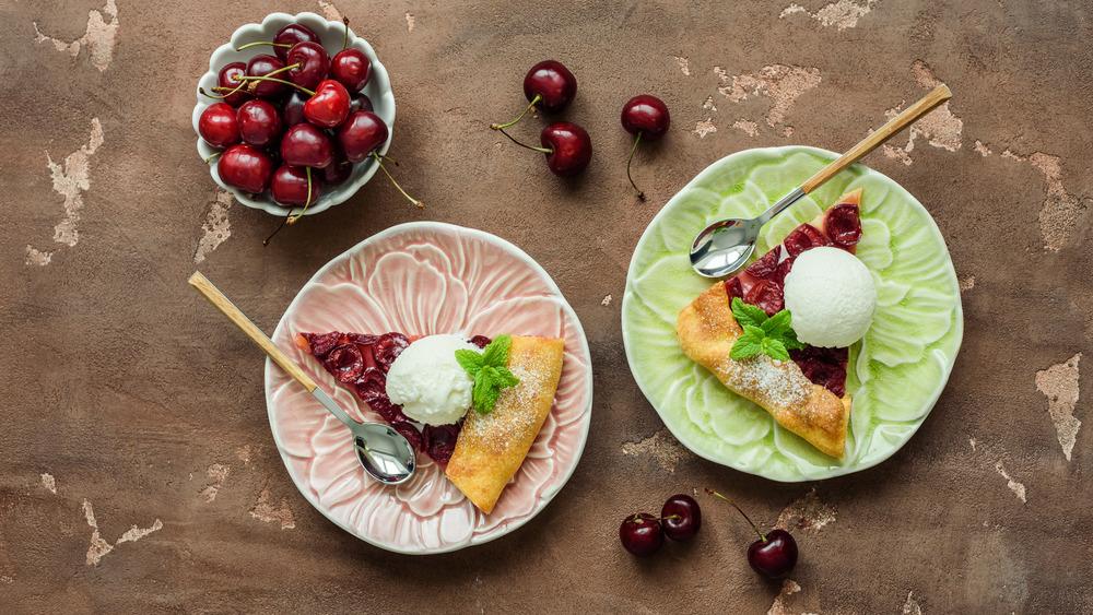 Cherry pie slices on plates