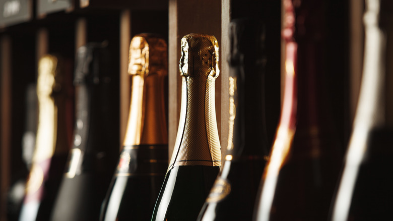 Close up of bottles of Champagne