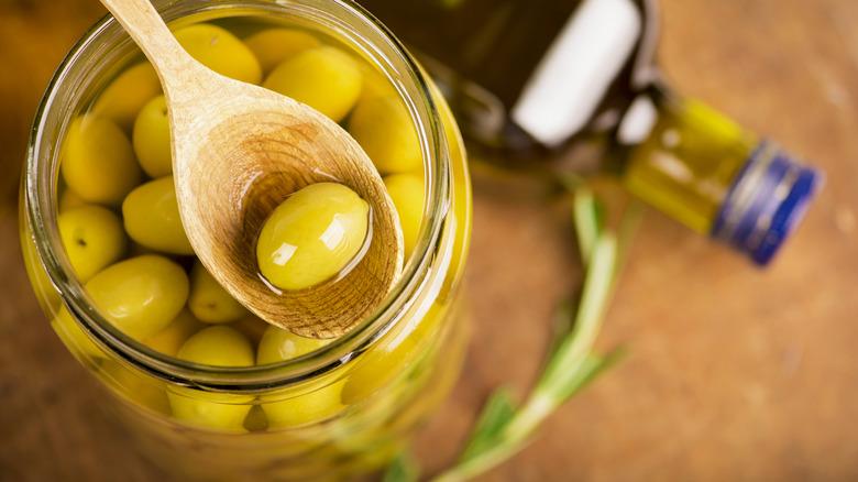 Olives in a jar