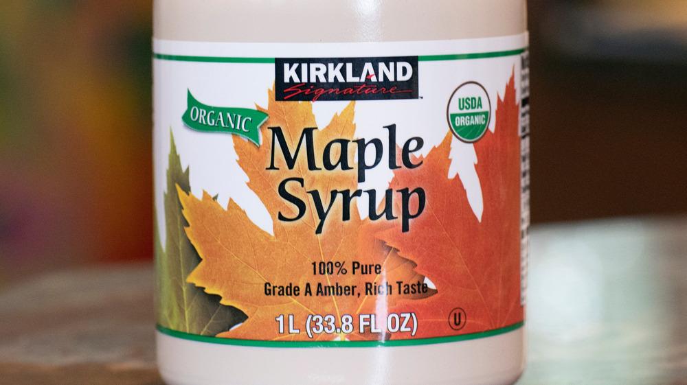 Bottle of Kirkland Signature organic maple syrup