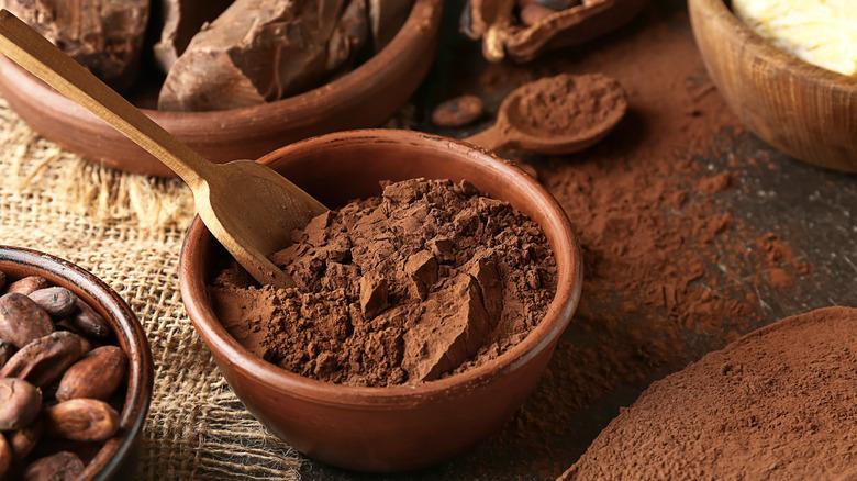 Bowl of cocoa powder