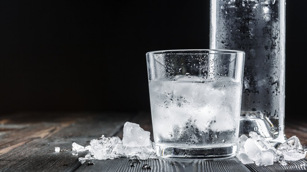 Chilled vodka and glass of vodka on the rocks