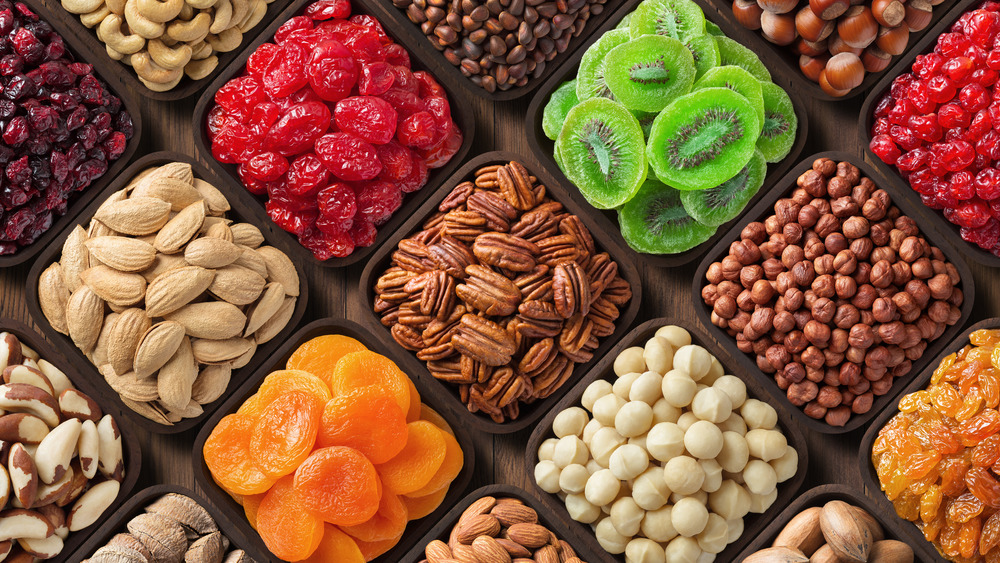 Compartments of dried fruit