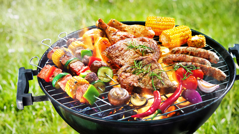 Grill heaped with food