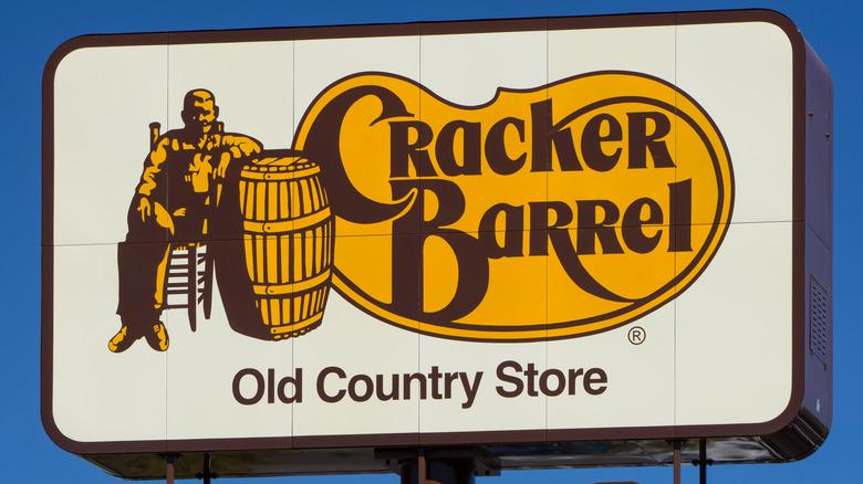 Cracker Barrel sign against sky