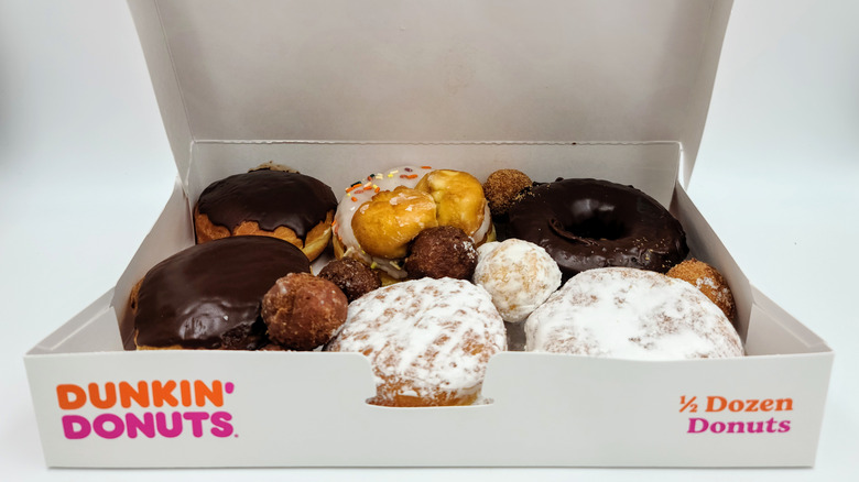 Box of Dunkin' with variety of donuts inside
