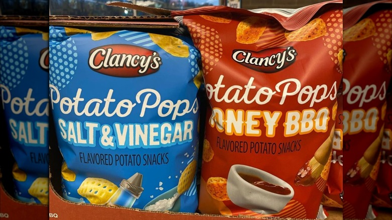 Display of Clancy's potato chips