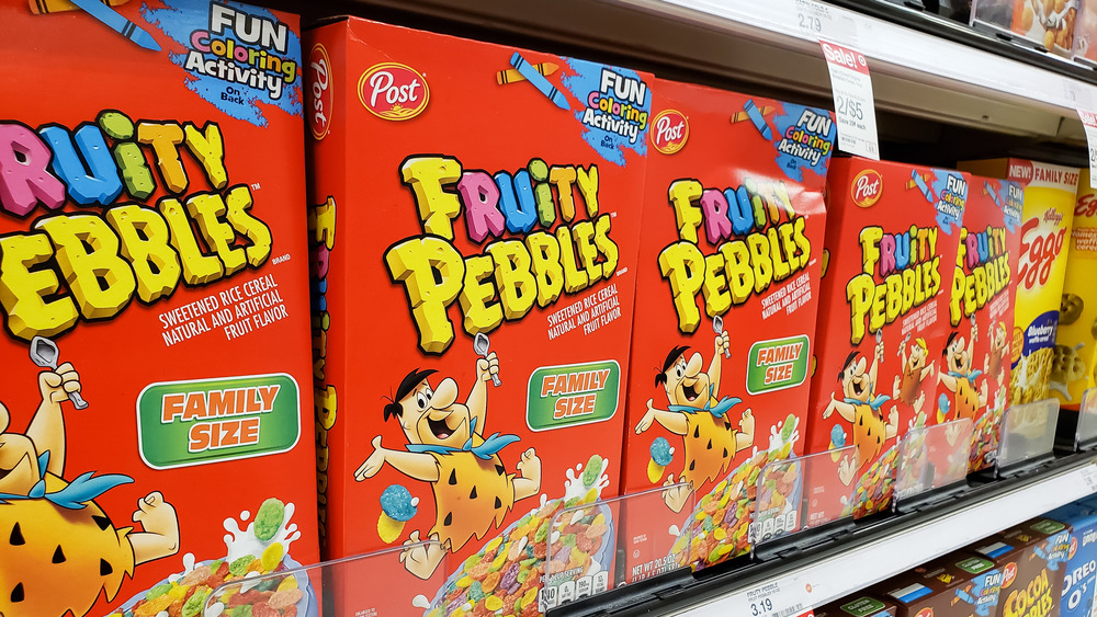 Boxes of Fruity Pebbles on store shelf