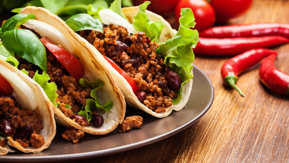 Mexican tacos with beans