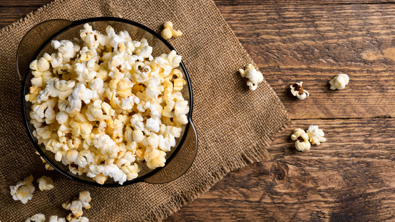 bowl of popcorn spilled