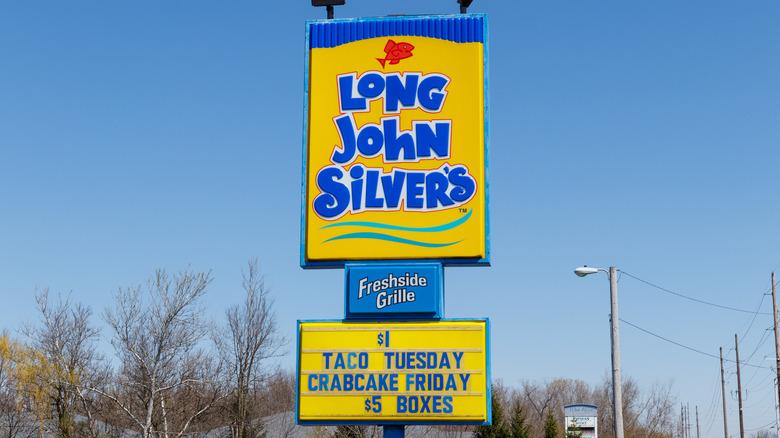 Long John Silver's restaurant sign